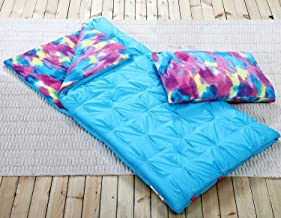 HowPlumb Sleeping Bag and Pillow Cover, Blue Tie-Dye Indoor Outdoor Camping Youth Kids Girls