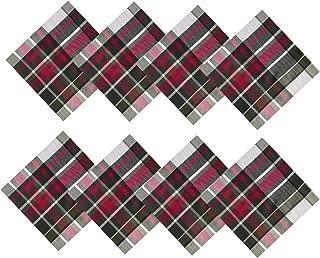 Newbridge Highland Christmas Plaid Fabric Napkin Set, 100% Cotton Weave Tartan Plaid Holiday Napkins, Set of 8 Fabric Napkins