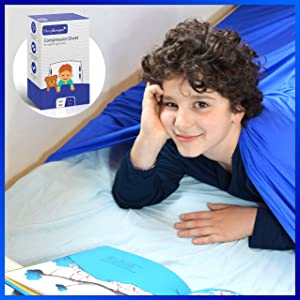 SleepKeeper Sensory Compression Blanket for Kids (Twin Size) - Breathable, Cool & Stretchy Lycra Bed Sheets for Boys, Girls & Toddlers, Promotes Deep Sleep, Best Alternative to Weighted Blankets, Blue