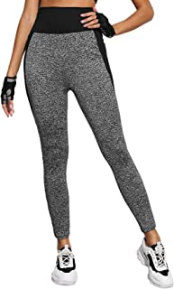 Milumia Women's Contrast Panel Pants Colorblock Sporty Workout Elastic Waist Leggings
