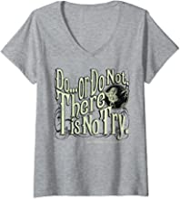 Womens Star Wars Yoda Do Or Do Not There is No Try Text V-Neck T-Shirt