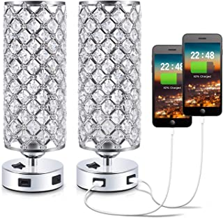 USB Crystal Bedside Lamp, Kakanuo Nightstand Lamp with Dual USB Charging Port, Modern Table Desk Lamp for Bedroom, Study Room, Office (Set of 2)