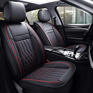 Aierxuan 5 Car Seat Covers Full Set with Waterproof Leather, Universal Fit for Most Sedan SUV (Black and Red, full set)
