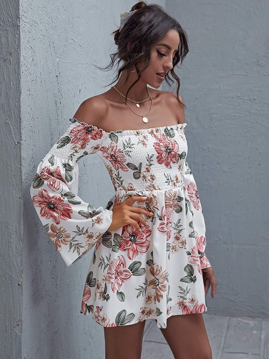 Romwe Womens Casual Floral Print Off Shoulder Trumpet Sleeve Swing Dress