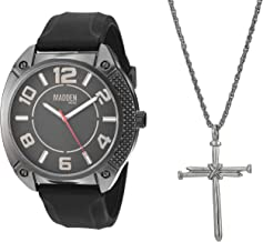 Steve Madden Men's Two-Tone Necklace and Watch Set SMMS029 Black One Size