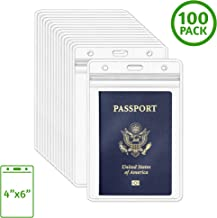 EcoEarth Passport Holder (Clear, 4x6 Inch, 100 Pack), Extra Large (XXL) Vertical ID Holder, Resealable and Waterproof Identification Card Holder
