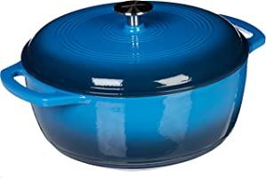 Amazon Basics Enameled Cast Iron Covered Dutch Oven, 6-Quart, Blue