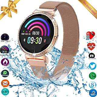 Smart Watch, Bluetooth Fitness Tracker with Touch Screen for Android IOS, Women's Smart Watch with IP67 Waterproof Call Reminder, Smart Bracelet with Blood Pressure Sleep Activity Tracker Pedometer