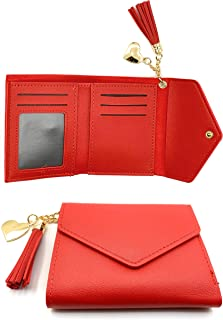 Wallet for Women 13 colors PU Leather Heart Pendant Tassel Card Holder Checkbook Organizer RFID Blocking For Purse
