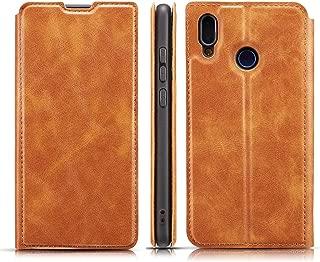 携帯電話レザーケース Huawei P Smart(2019)用レトロシンプル極薄磁気水平フリップレザーケース、ホルダー&カードスロット&ストラップ付き レザーケース (色 : Brown)
