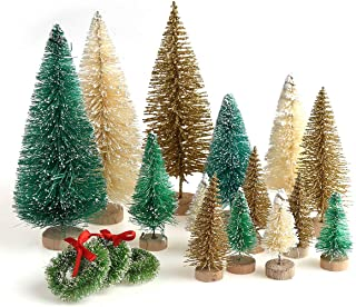 30 Pieces Miniature Sisal Frosted Christmas Trees Bottle Brush Mini Trees Plastic Tabletop Trees Ornaments for Christmas Room Decor Home Table Top Decoration and Crafts