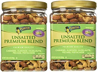 Planters Premium Blend Mixed Nuts, Unsalted, 34.5 Ounce, 2 Tubs