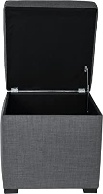 MJL Furniture Designs Tami Collection Fabric Upholstered Lift Top Cube Storage Ottoman | Ottoman Foot Rest, HJM100 Series, Dark Gray