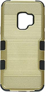 MyBat Samsung-Galaxy S9 Gold Brushed/Black TUFF Hybrid Phone Protector Cover [Military-Grade Certified]