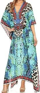Georgettina Flowy Rhinestone V Neck Long Caftan Dress/Cover Up