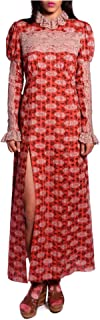Anna Sui Women'S Coral Rosine Rose Long Sleeve Dress