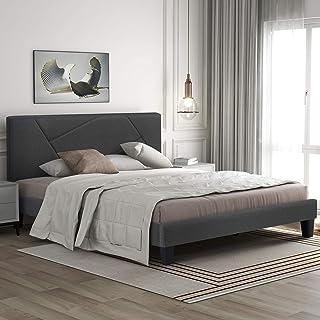 Soayone Lit capitonné double 140 x 200 cm, sommier à lattes, espace de rangement, lit rembourré avec tête de lit, pour cha...