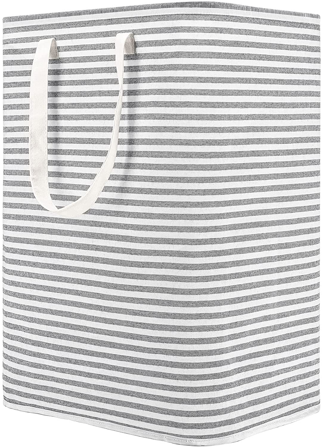 DOKEHOM 77L Freestanding Laundry Hamper with Handle, Collapsible Large Cotton Storage Basket for Clothes(Grey)