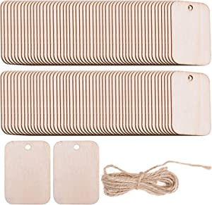 Lainrrew 200 Pcs Unfinished Wood Pieces, Rectangle Shaped Wooden Cutout Wooden Gift Tags Blank Wood Tags Name Tags Labels with 65.6 Ft Jute Rope for DIY Craft Projects Home Christmas Decoration