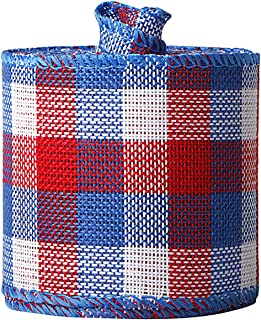 Samanter Patriotic Ribbon Rustic Blue Red White Grid Burlap Ribbon 2inch Memorial Day President s Day 4th of July USA Wire...