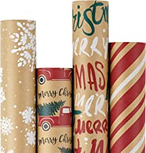 RUSPEPA Christmas Wrapping Paper, Kraft Paper - Snowflakes, Car and Christmas Tree, Stripes and Merry Christmas - 4 Rolls ...