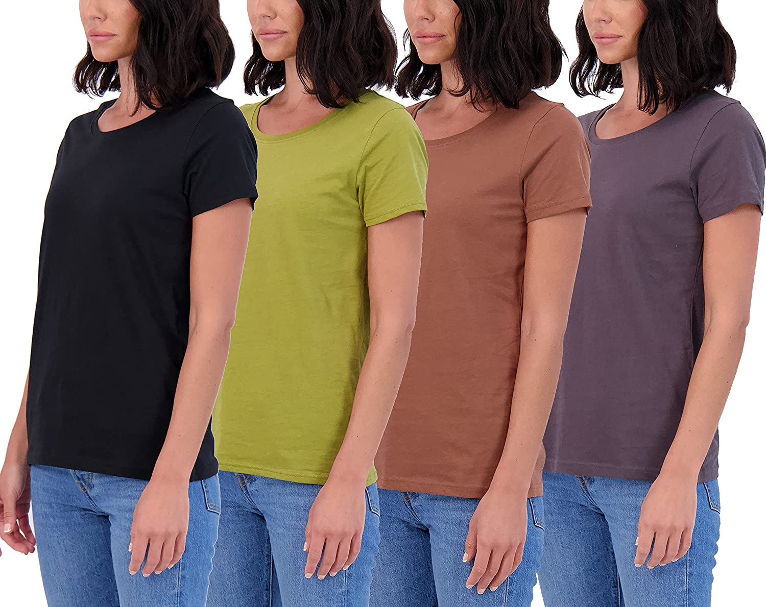 Women's 4-Pack Classic-Fit 100% Cotton Short-Sleeve Scoop N Popular standard Complete Free Shipping Crew