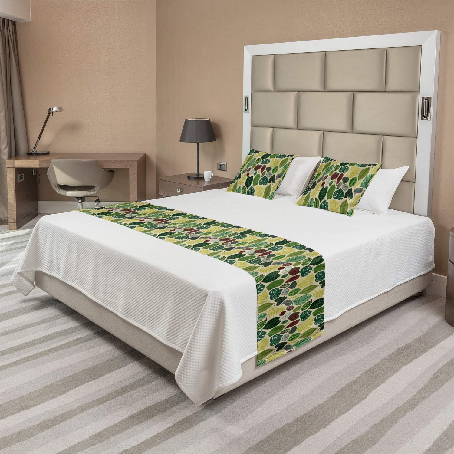 Ambesonne Tropical Bed Runner Set Style Detailed Nature Vintage New arrival online shopping