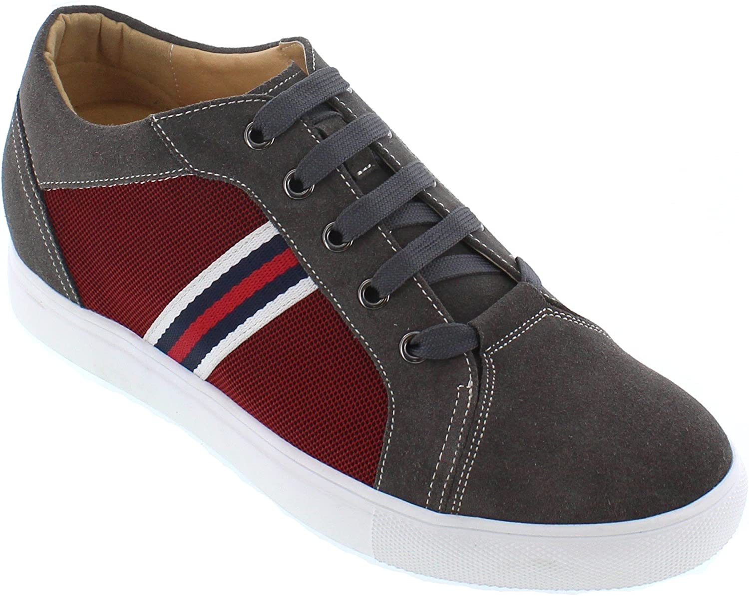 CALTO - J9102-2.4 Inches Taller - Height Increasing Elevator shoes - Grey & Metallic Red Lace-up Fashion Sneakers