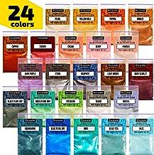 Epoxy Resin Dye – Mica Powder – 24 Powdered Pigments Set – Soap Dye – Hand Soap Making Supplies – Eyeshadow and Lips Makeup Dye – Slime Pigment