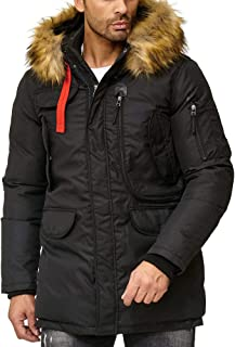 Red Bridge - Men's Thick Winter Jacket with Large Bags and Furry Hood