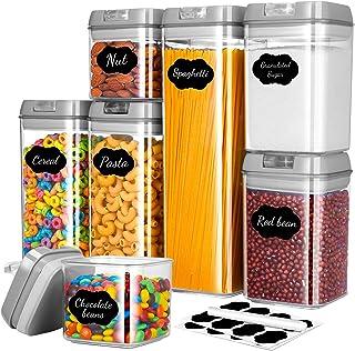 Gesentur Boîte de Rangement Plastique Cuisine Lot de 7, Boîte de Conservation Hermetiques Transparent Alimentaires avec Co...