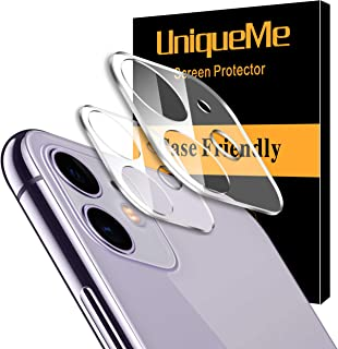 UniqueMe [2 Pack] Protector de Lente de cámara para iPhone 11 Cristal Templado Protector de Pantalla [9H Dureza ] [Sin Burbujas] HD Film Vidrio Templado