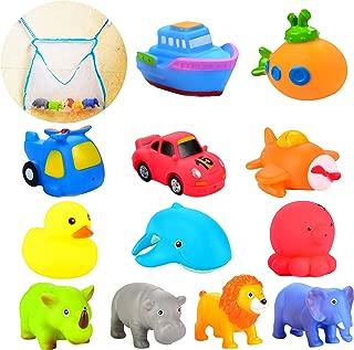 Joyin Toy 12 Pack 3.5'' Squirt Squeaker Bath Toys with Toy Organizer for Fun Bath
