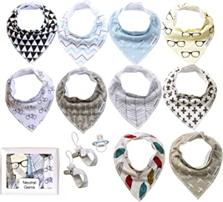 NeutralGems 10 Pack Baby Bibs, 2 Pacifier Clips, 1 Pacifier-Baby Bandana Drool Bibs & Pacifier for Drooling & Teething, 100% Organic Cotton for Boys & Girls- 0-24 Months, Baby Shower/Registry Gift Set