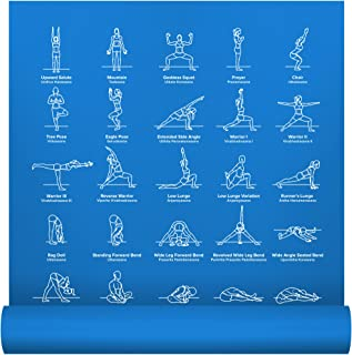 """NewMe Fitness Instructional Yoga Mat Printed w/ 70 Illustrated Poses, 24"""" Wide x 68"""" Long, for Women & Men : Non Slip, Eco Friendly PVC, Non Toxic : for Home or Gym : 5mm Thick"""