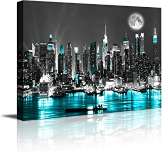 canvas wall art blue sea New York paintings Wall Art,Black and White Stretched wall art..