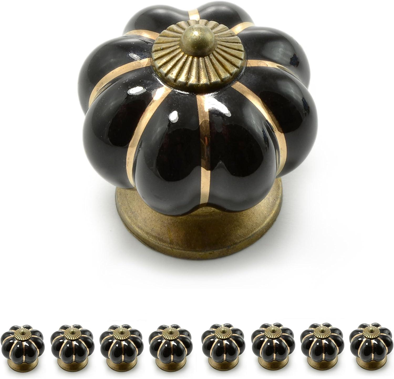 juego disponible en muchos colores diferentes dise/ño vintage con adornos dorados Ganzoo Tiradores para muebles con corona de porcelana Azul