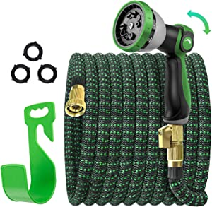 Expandable Garden Hose 75ft, Flexible Lightweight Expanding Garden Hose, Collapsible Outdoor Hose for Yard Lawn, No Kink Retractable Water Hose with 10 Setting Nozzle