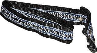 Nylon Tali Strap for Guitar, Vihuela, Guitarron, Requinto. Plastic Sound Hole Hook w/Hand Design (BLK/BLUE)