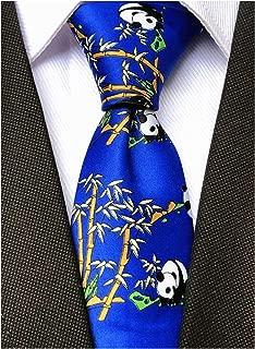 Novelty Patterned Ties for Men Cute Panda Printed Casual Satin Party Handmade Neckties