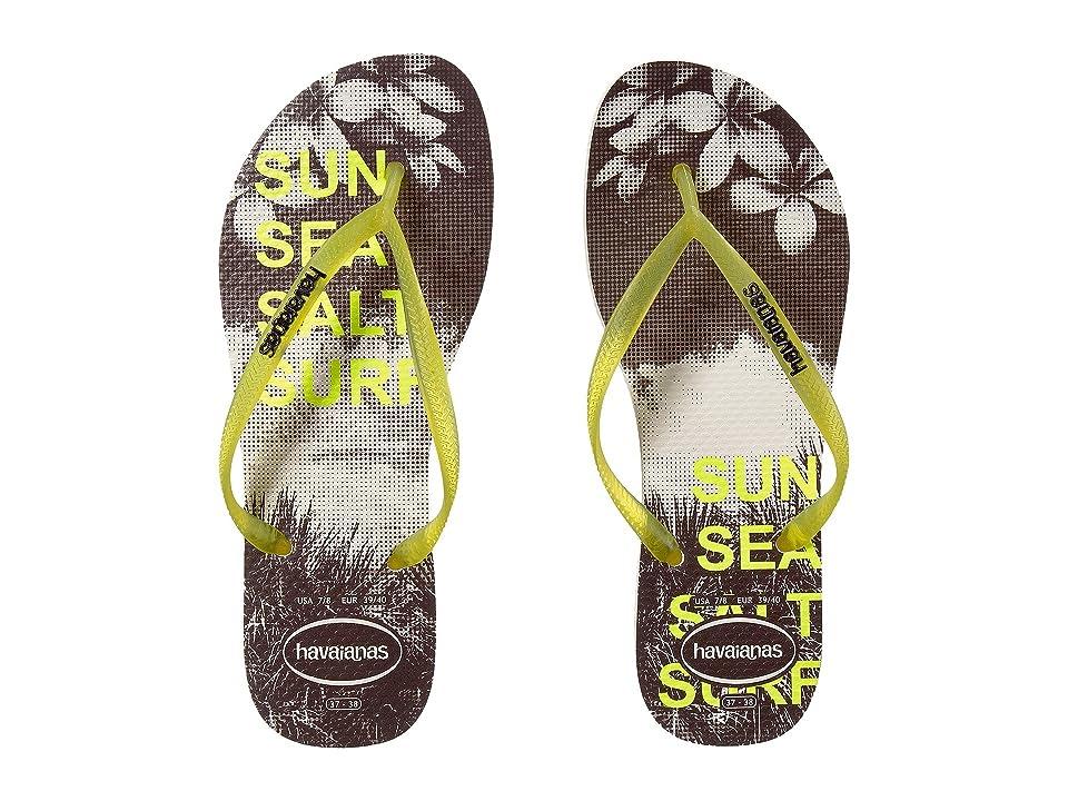 Havaianas Slim Paisage Flip Flops (White/Yellow) Women