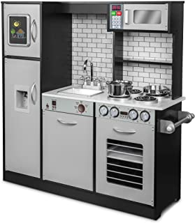 مجموعه اسباب بازی آشپزخانه Jumbl Pretend Wooden Play ، طراحی واقع گرایانه با عناصر صوتی با باتری تعاملی ، مایکروویو ، دستگاه یخ ، تخته سیاه ، اجاق گاز ، یخچال ، اجاق گاز ، سینک ظرفشویی