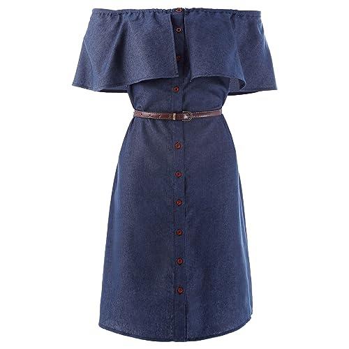 f01017aadb2 Kate Kasin Women Off Shoulder Button up Denim Shirts Dresses with Belt