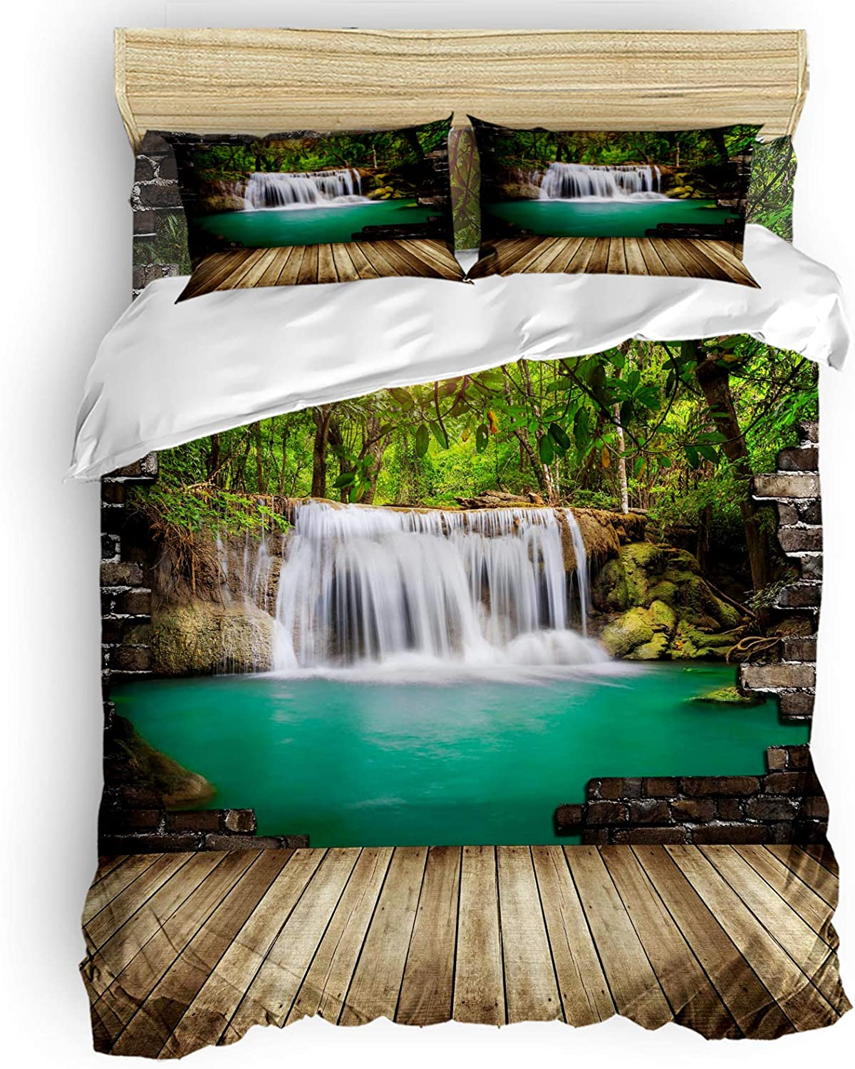 Prime Leader Duvet Cover Set King Califonia Forest Waterfa Las Spring new work Vegas Mall Size