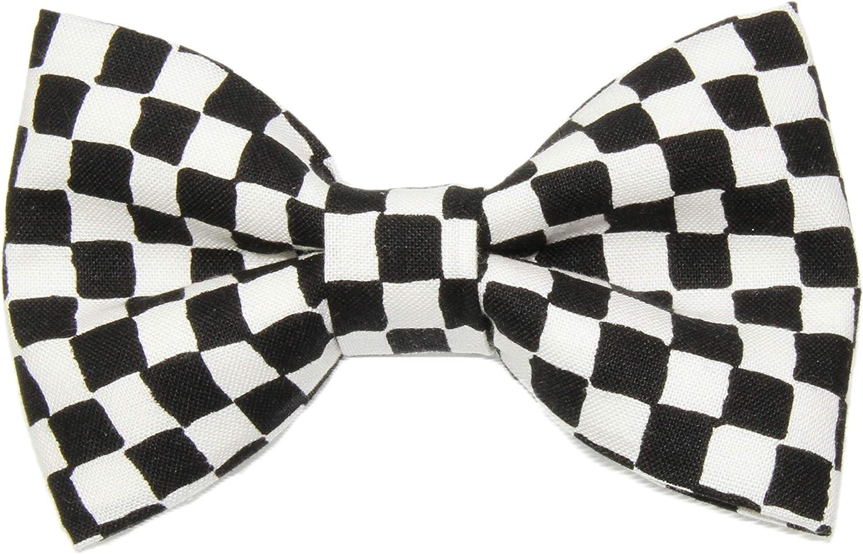 Boys Black/White Checkered Flag Clip On Cotton Bow Tie