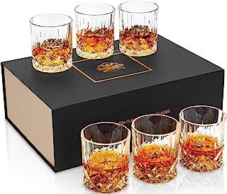 KANARS Whiskey-Gläser Set mit 6 Stück in eleganter Geschenkbox, 284 ml, hochwertiges altmodisches Kristallglas für Likör, Scotch, Cocktail oder Bourbon