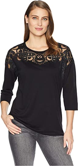 3/4 Sleeve Top with Fancy Burnout