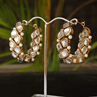 Abhika Creations Flipside Handmade Hoop Earrings Designer Indian Traditional Heavy Look Lightweight Earrings Gift For Her
