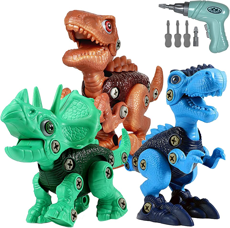Eshyer Dinosaur Toys for Kids 3-5 - Take Apart Dinosaur Toys - Building Blocks Kits with Electric Drill Construction Engineering Play Set STEM Puzzles for Boys Girls Toddler Ages 4-8 5-7 8-12