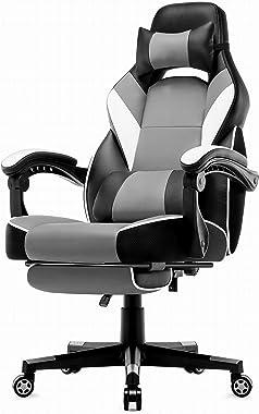Intimate WM Heart Chaise de Bureau Gaming en Similicuir, Fauteuil Racing Inclinable, Siège Ergonomique Pivotant (Gris)